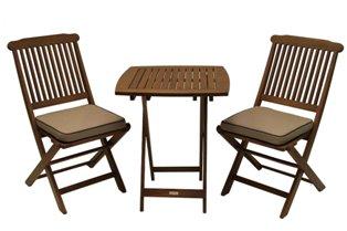 Trämöbel, 2 stolar och 1 bord